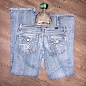 vigoss womens denim blue jeans size 7 distressed